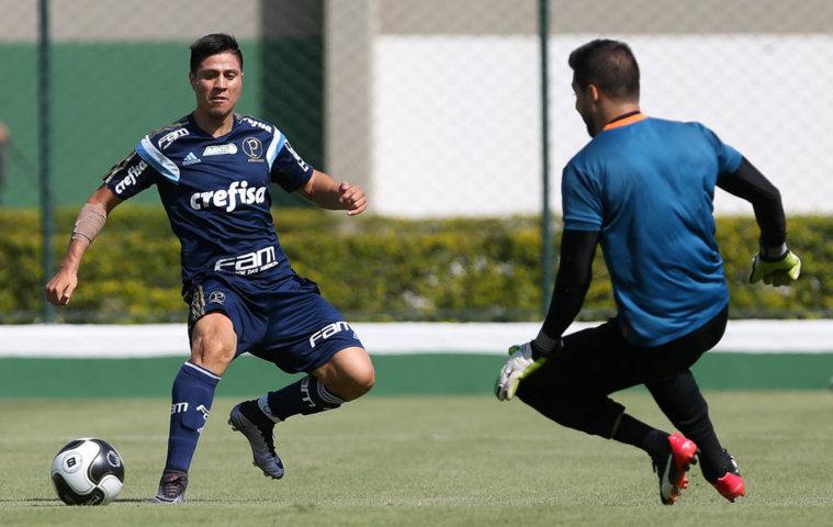 Cristaldo deu duas assistências para gols no jogo-treino desta sexta-feira (25). (Cesar Greco/Ag.Palmeiras/Divulgação)