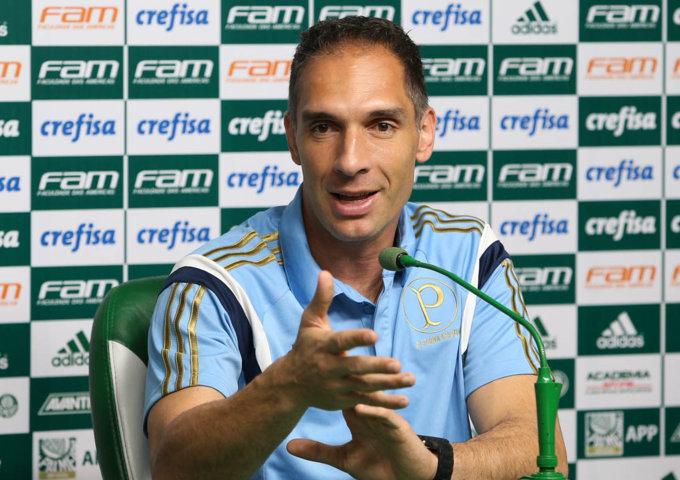 Fernando Prass concedeu entrevista coletiva na Academia de Futebol nesta quarta (02) (Cesar Greco/Ag.Palmeiras/Divulgação)
