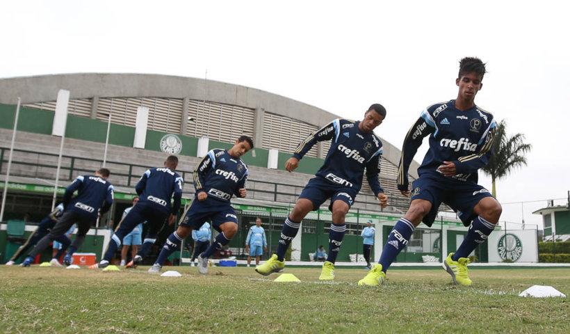Augusto e Vitinho treinaram com o elenco profissional nesta sexta-feira (29). (Cesar Greco/Ag Palmeiras/Divulgação)