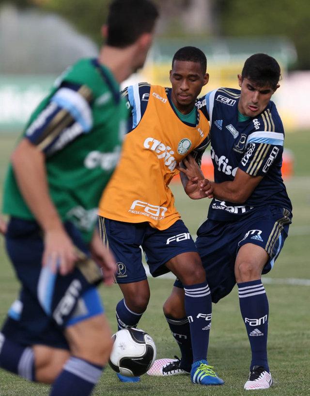 Elenco fez atividades técnicas em campo reduzido, na manhã desta quinta-feira (21). (Cesar Greco/Ag.Palmeiras/Divulgação)