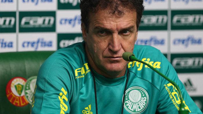 Cuca concedeu entrevista coletiva nesta sexta-feira (12) na Academia de Futebol. (Cesar Greco/Ag.Palmeiras/Divulgação)
