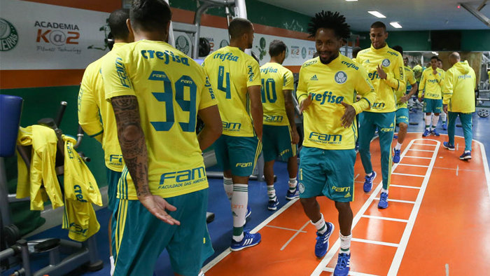 Elenco fez trabalhos de força na sala de musculação da Academia de Futebol. (Cesar Greco/Ag.Palmeiras/Divulgação)
