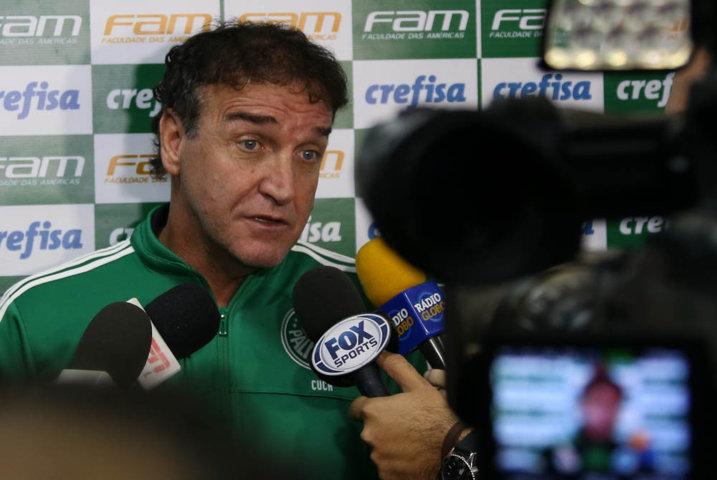 Cuca concedeu entrevista coletiva em Belo Horizonte, local de duelo com Cruzeiro. (Cesar Greco/Ag.Palmeiras/Divulgação)