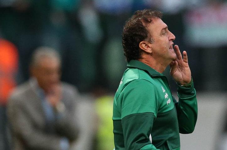 Cuca venceu seu segundo dérbi à frente no comando do Palmeiras. (Cesar Greco/Ag.Palmeiras/Divulgação)