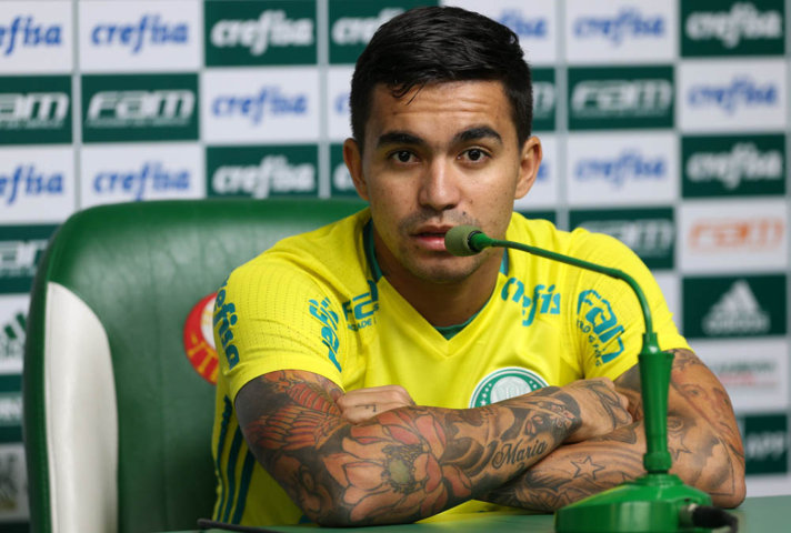 Dudu concedeu entrevista coletiva na Academia de Futebol nesta segunda (27). (Cesar Greco/Ag.Palmeiras/Divulgação)