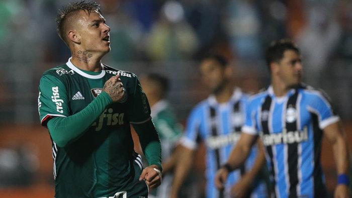 Palmeiras bateu o Grêmio por 4 a 3 na noite desta quinta-feira (02) no Pacaembu, pela 5ª rodada do Brasileirão. (Cesar Greco/Ag. Palmeiras/Divulgação)