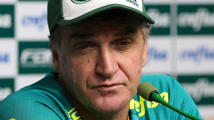 Cuca concedeu entrevista coletiva na Academia de Futebol nesta sexta-feira (15). (Cesar Greco/Ag.Palmeiras/Divulgação)