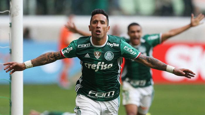 Barrios entrou ainda no primeiro tempo e abriu o placar. (Cesar Greco/Ag.Palmeiras/Divulgação)