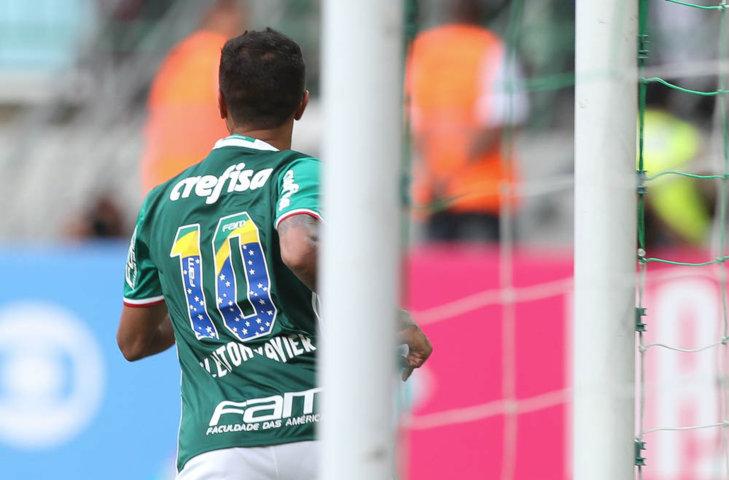 Cleiton Xavier marcou o segundo gol no triunfo sobre o Vitória. (Cesar Greco/Ag.Palmeiras/Divulgação)