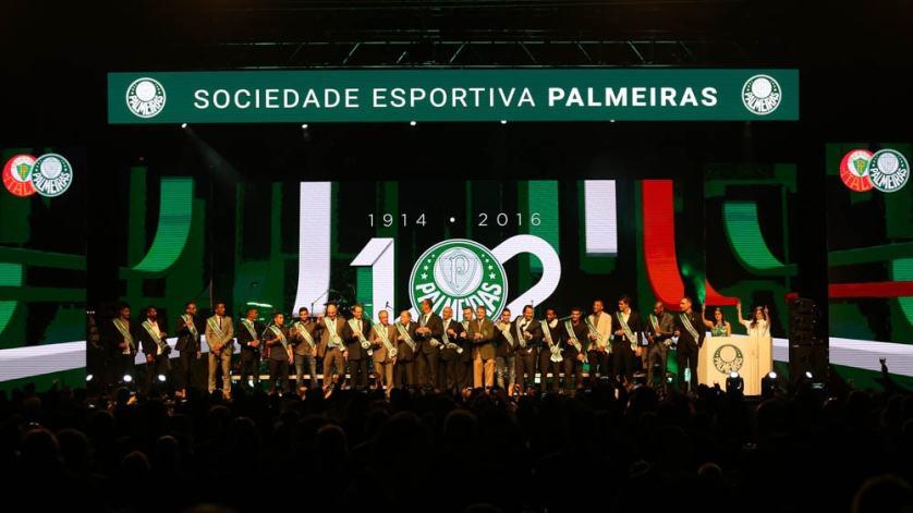 A festa de aniversário dos 102 anos do Palmeiras foi realizada quinta-feira (25), no Espaço das Américas. (Cesar Greco/Ag.Palmeiras/Divulgação)
