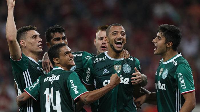 Vitor Hugo marcou seu 12º gol com a camisa do Verdão. (Cesar Greco/Ag Palmeiras/Divulgação)