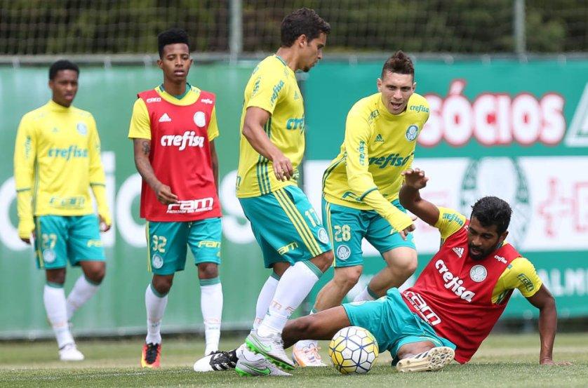Elenco fez uma atividade técnica na Academia de Futebol, para o jogo de domingo. (Cesar Greco/Ag.Palmeiras/Divulgação)