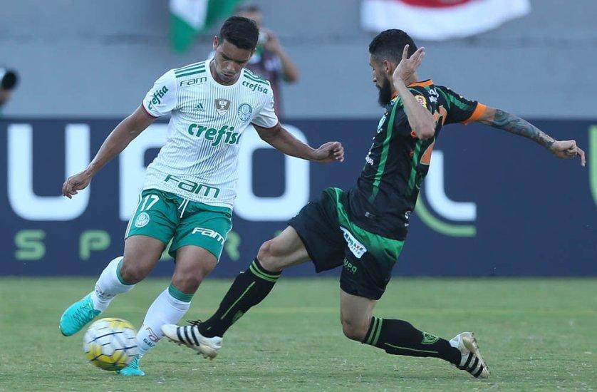 Líder do Brasileirão, Palmeiras bateu o lanterna América-MG neste domingo (09). (Cesar Greco/Ag.Palmeiras/Divulgação)