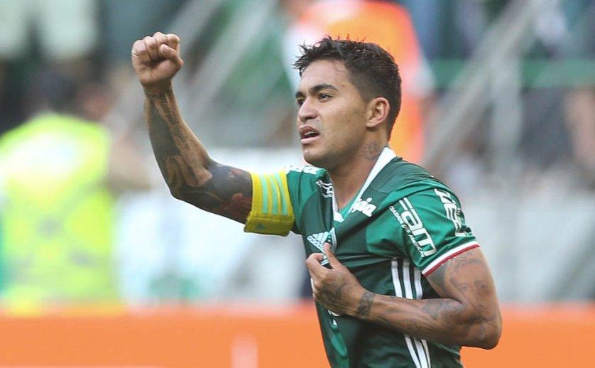 Dudu recebeu cruzamento de Gabriel Jesus e marcou o gol da vitória contra o Botafogo. (Cesar Greco/Ag Palmeiras/Divulgação)