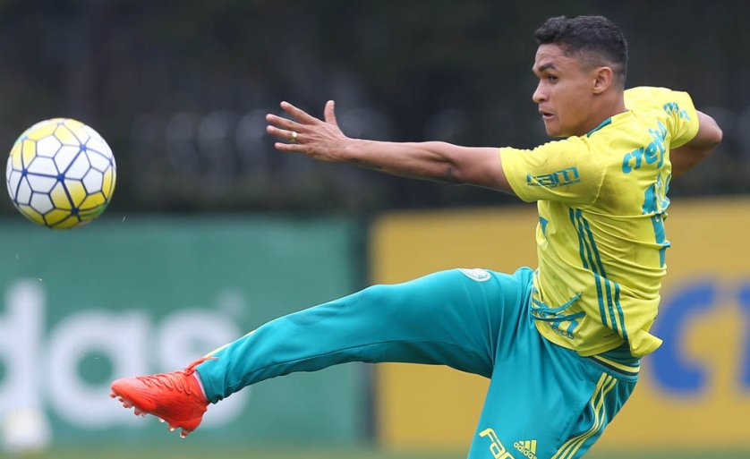 Erik treinou como titular nesta quinta (24). (Cesar Greco/Ag.Palmeiras/Divulgação)