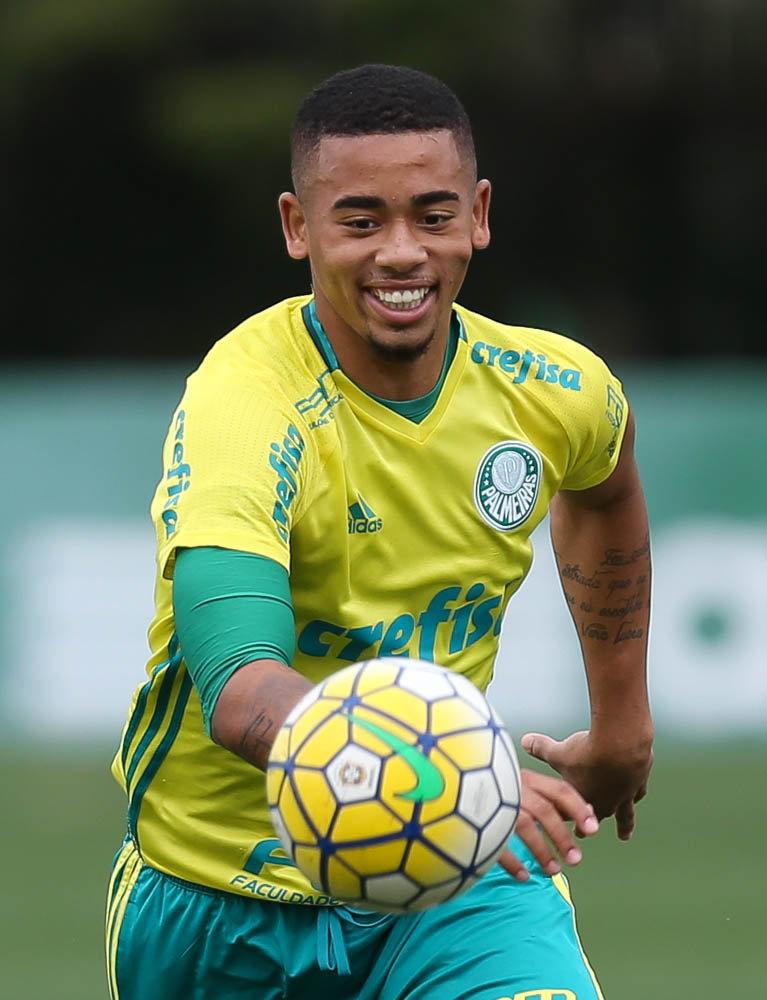 o atacante Gabriel Jesus chegou ao seu quinto tento em seis partidas com a camisa da Seleção. (Cesar Greco/Ag.Palmeiras/Divulgação)