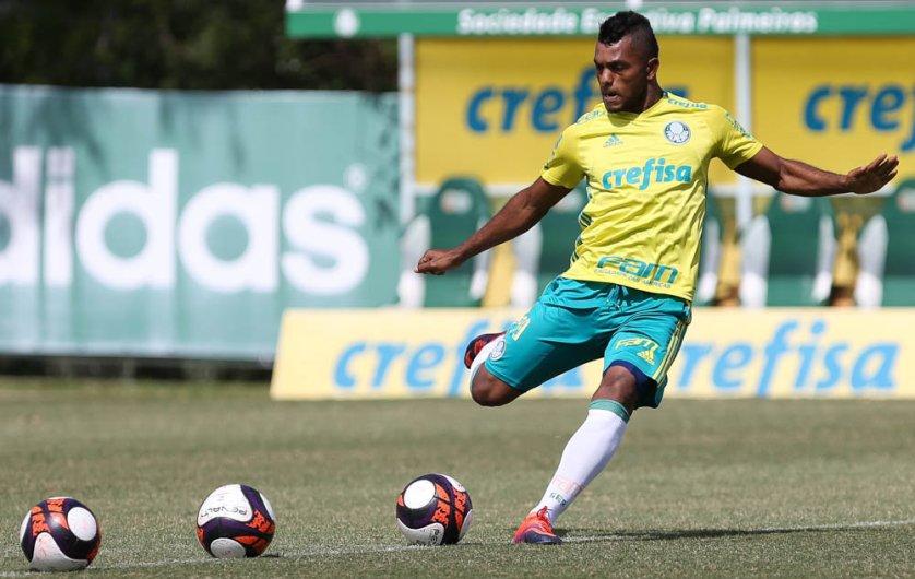O atacante colombiano Borja trabalhou com bola pela primeira vez. (Cesar Greco/Ag Palmeiras/Divulgação)