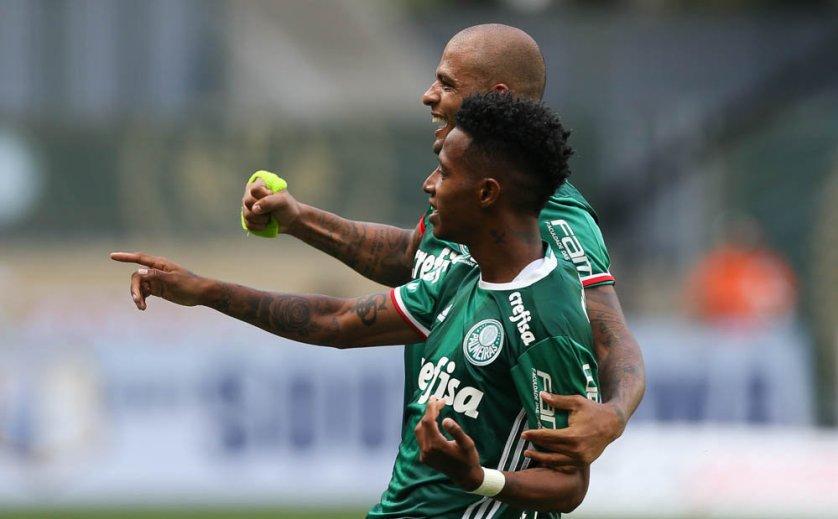 O meio-campista Tchê Tchê marcou o gol da vitória alviverde. (Cesar Greco/Ag Palmeiras/Divulgação)