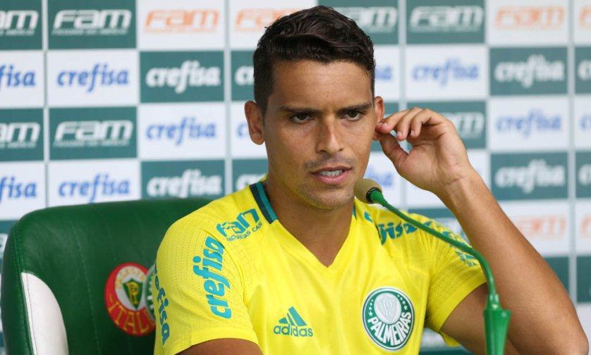 O lateral Jean concedeu entrevista coletiva após o treino desta terça-feira (14). (Cesar Greco/Ag Palmeiras/Divulgação)
