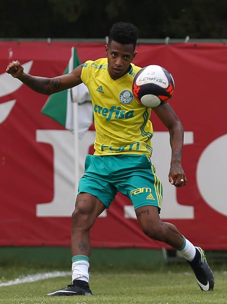 Recuperado de lesão no ombro esquerdo, Tchê Tchê deu sequência ao processo de transição física. (Cesar Greco/Ag.Palmeiras/Divulgação)
