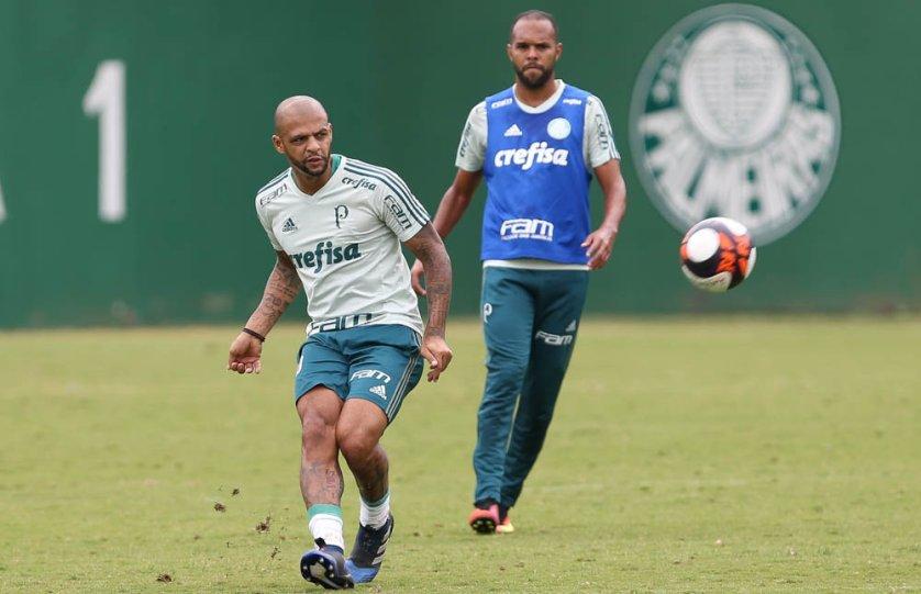 Felipe Melo pode retornar ao time, volante foi poupado no empate com o Audax, na última rodada. (Cesar Greco/Ag Palmeiras/Divulgação)