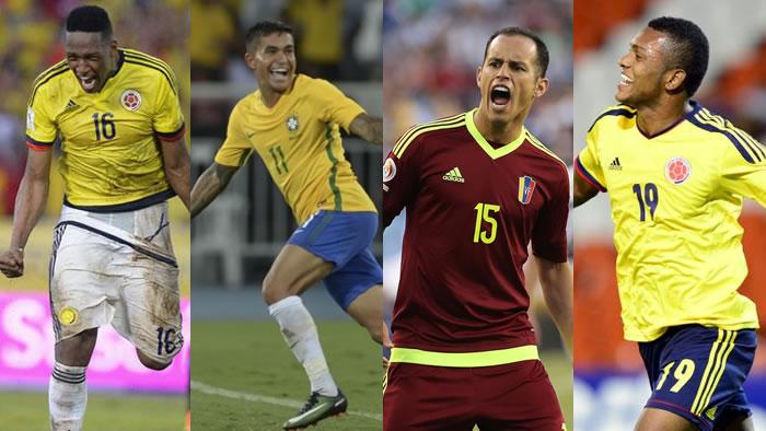 Mina, Dudu, Guerra e Borja defenderão suas Seleções nas Eliminatórias para a Copa do Mundo de 2018. (Montagem/Divulgação)