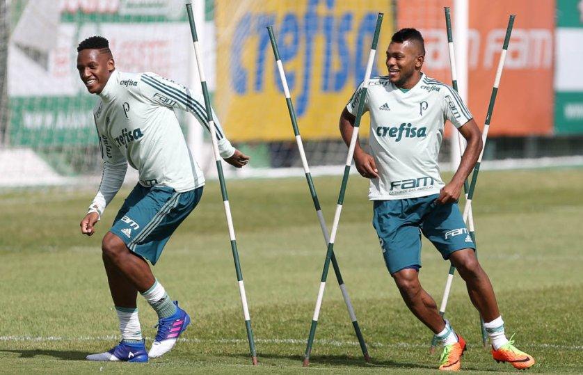 Após defender a Colômbia, Yerry Mina e Miguel Borja devem voltar ao time do Palmeiras. (Cesar Greco/Ag. Palmeiras/Divulgação)