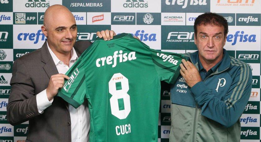 Com presença do presidente Maurício Galiotte, Cuca foi apresentado, nesta terça-feira (09), na Academia de Futebol. (Cesar Greco/Ag Palmeiras/Divulgação)