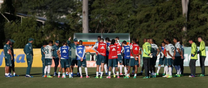 Com Cuca, elenco realizou atividades em campo reduzido na Academia de Futebol. (Cesar Greco/Ag Palmeiras/Divulgação)