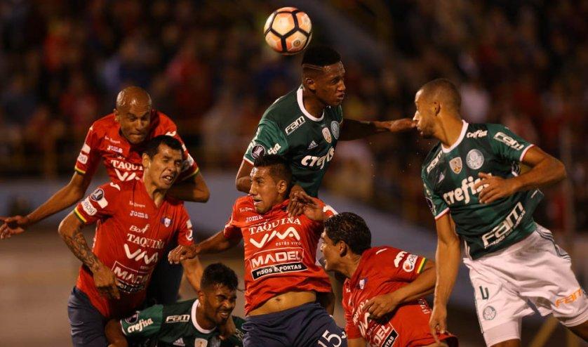 Jogando na Bolívia, o Palmeiras não conseguiu superar o Jorge Wilstermann-BOL, nesta quarta-feira (03), e perdeu por 3 a 2. (Cesar Greco/Ag. Palmeiras/Divulgação)