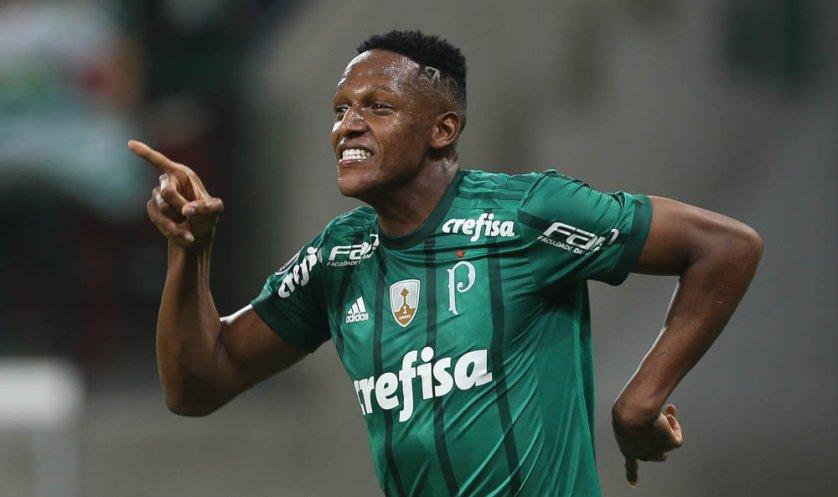 Yerry Mina fez o primeiro gol do Verdão na vitória sobre o Atlético Tucumán. (Cesar Greco/Ag Palmeiras/Divulgação)