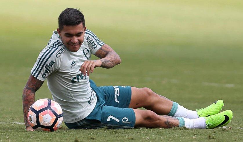 Recuperado de lesão muscular, Dudu deu sequência ao processo de transição física. (Cesar Greco/Ag Palmeiras/Divulgação)