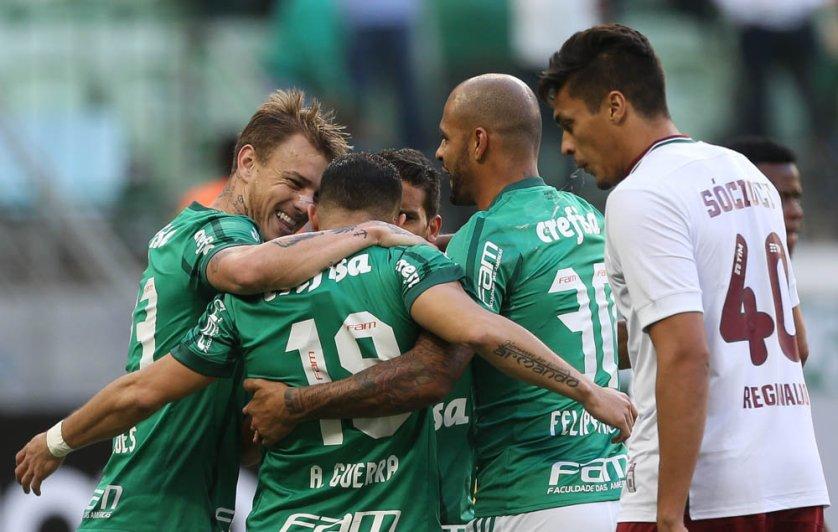 Com emoção até o apito final, o Palmeiras derrotou o Fluminense, neste sábado, no Allianz Parque. (Cesar Greco/Ag Palmeiras/Divulgação)
