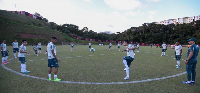 O Palmeiras realizou na tarde deste sábado (17), no centro de treinamento do Vitória, a última atividade antes de encarar o Bahia. (Cesar Greco/Ag Palmeiras/Divulgação)