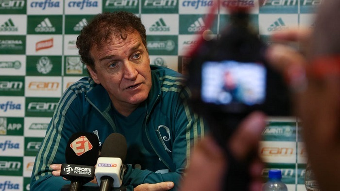 Cuca falou com a imprensa nesta sexta-feira (21), antes do duelo contra o Sport. (Cesar Greco/Ag Palmeiras/Divulgação)