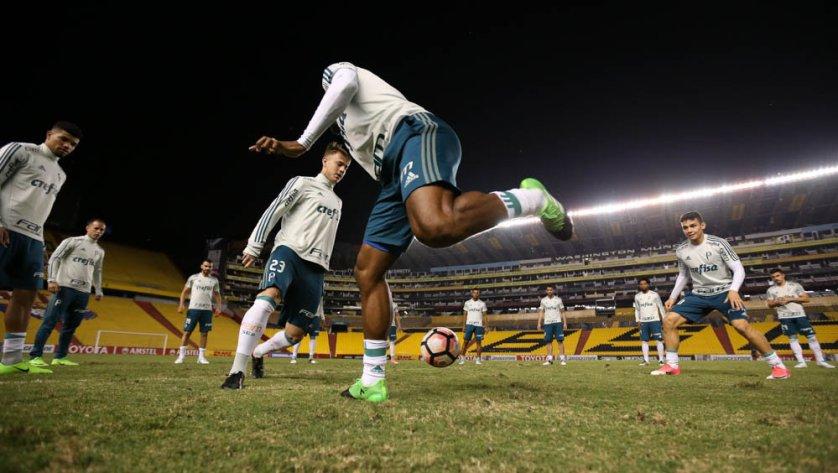 Thiago Santos e Edu Dracena estiveram nas atividades em solo equatoriano. (Cesar Greco/Ag. Palmeiras/Divulgação)