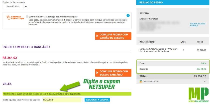 Siga os passos da promoção para ter 15% de desconto nos produtos do Palmeiras. (Reprodução/Netshoes)