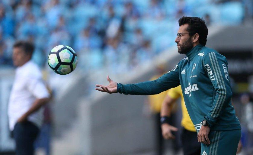 Alberto Valentim viu evolução na sua equipe na vitória contra o Grêmio, pelo Brasileirão. (Cesar Greco/Ag Palmeiras/Divulgação)