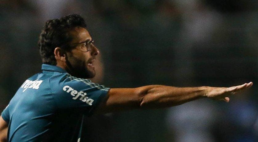 O técnico Alberto Valentim aprovou a atuação de seus comandados diante da Ponte Preta. (Cesar Greco/Ag. Palmeiras/Divulgação)