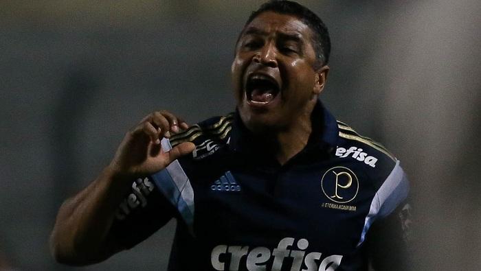 Após a classificação, o técnico Roger Machado comemorou classificação às finais do Paulista. (Cesar Greco/Ag Palmeiras/Divulgação)