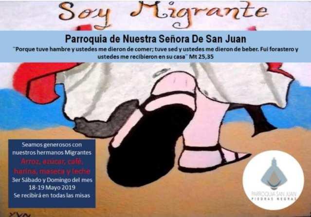 PARROQUIA SAN JUAN INVITA A SER GENEROSO Y DONAR EN ESPECIE A NUESTROS MIGRANTES