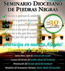 VEN A CELEBRAR LOS 30 AÑOS DEL SEMINARIO DIOCESANO DE PIEDRAS NEGRAS