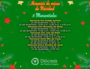 HORARIOS DE MISAS DE NAVIDAD EN 5 MANANTIALES