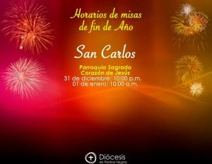 HORARIOS DE MISAS DE FIN DE AÑO EN SAN CARLOS
