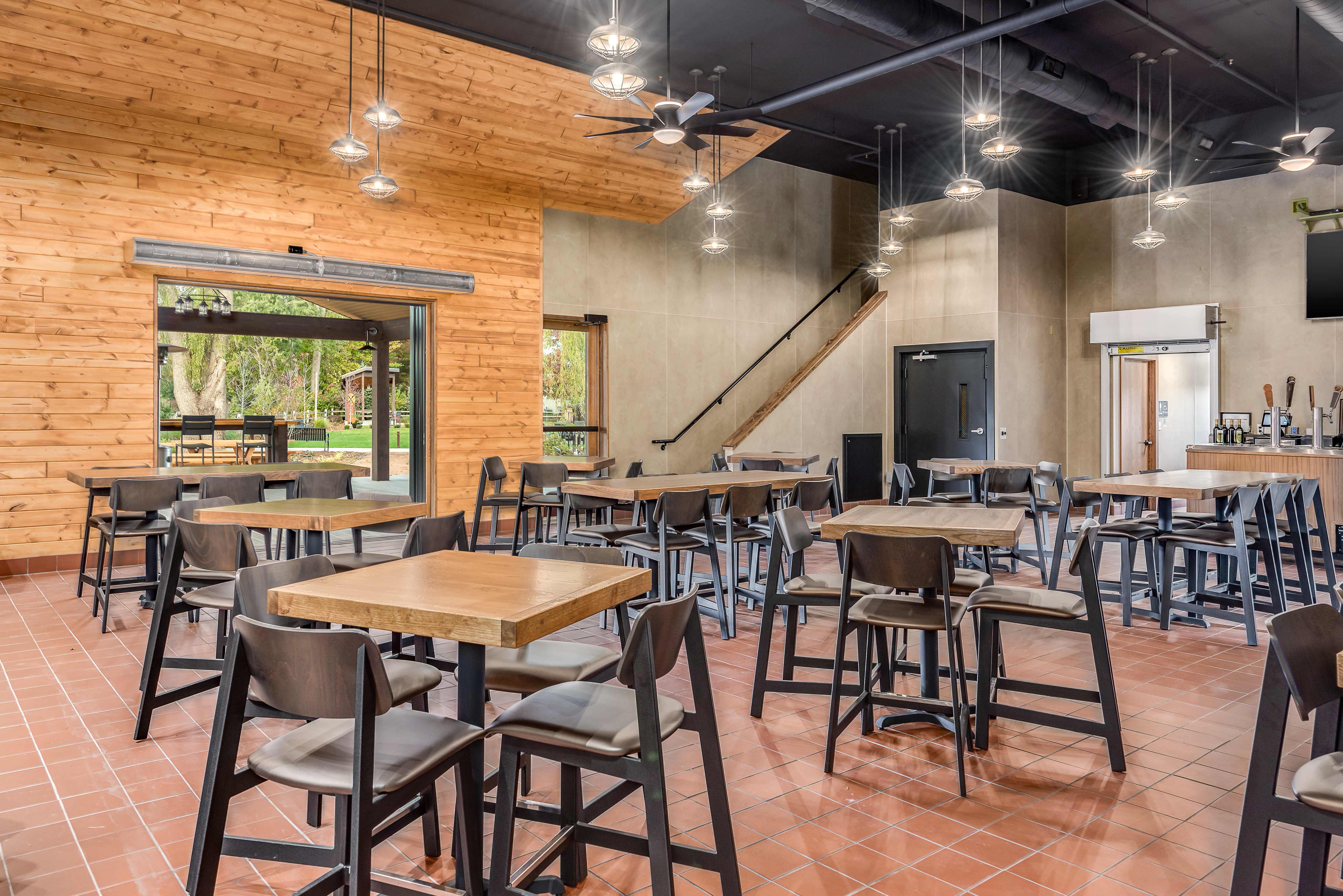 Interior view of the Red Keg Barrel House Event Venue and the design of the venue located in Midland, MI.