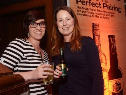 No Reproduction Fee Hannah Davis and Sarah Hanley, pictured at the launch of the Franciscan Well Jameson-Aged Pale Ale. Pic John Sheehan Photography