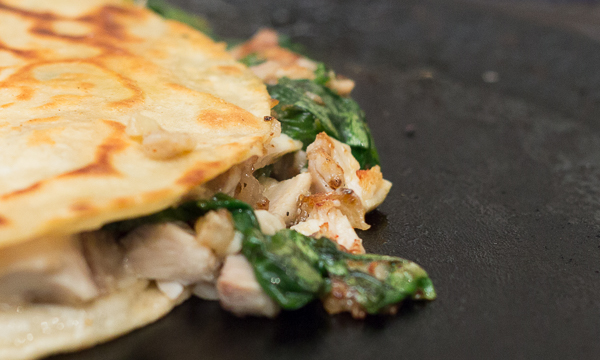 Smoky Chicken and Spinach Quesadilla
