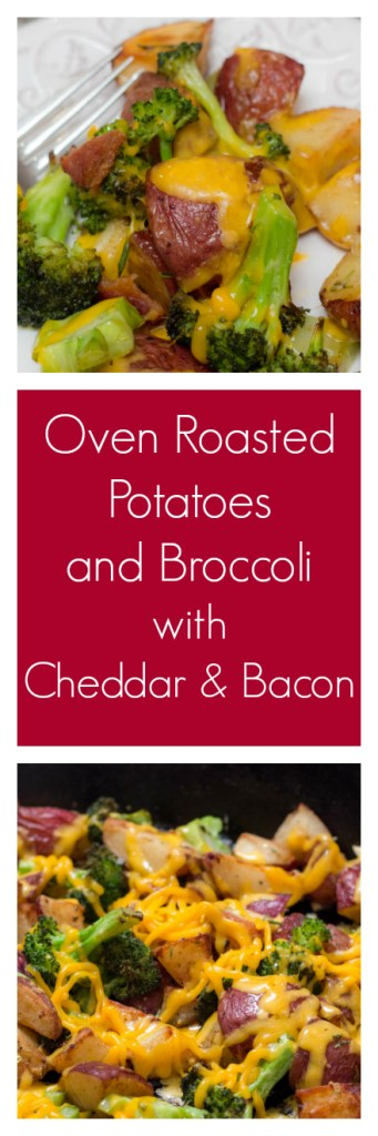 One dish sheetpan supper recipe with potatoes, broccoli, cheddar cheese and bacon