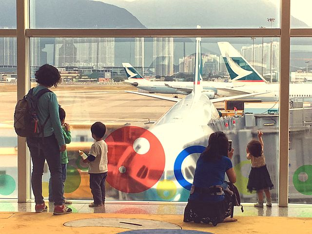 Children on Airplanes-waiting to board