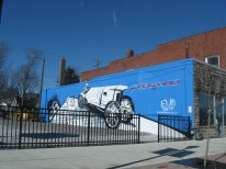 """January 28th: My wife and I spent the morning hunting the """"46 for XLVI Murals"""" throughout Indianapolis, including this Speedway submission near the Indianapolis Motor Speedway."""